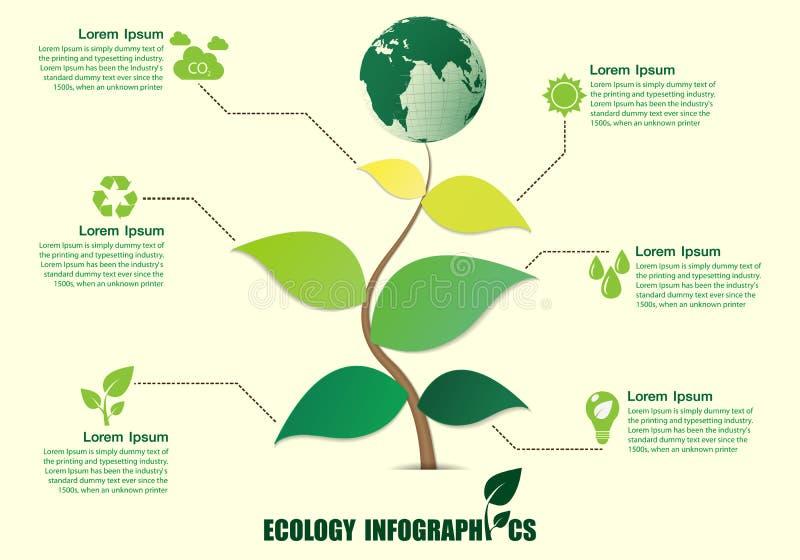 Projeto de Infographic com árvore abstrata ilustração royalty free