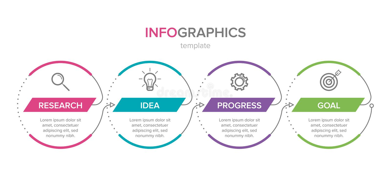 Projeto de Infographic com ?cones e 4 op??es ou etapas Linha fina vetor Conceito do neg?cio de Infographics pode ser usado para ilustração stock