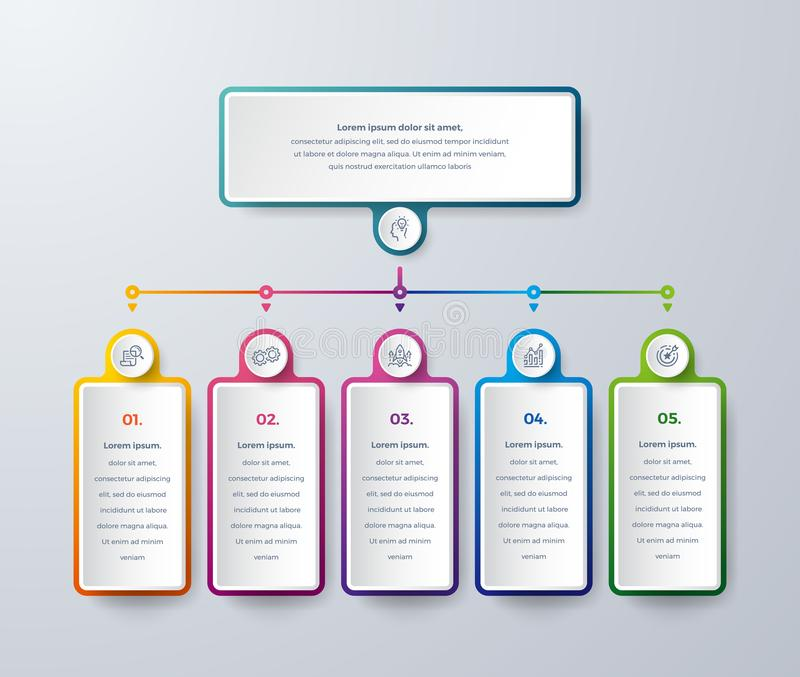 Projeto de Infographic com cores modernas e ?cones simples Projeto de Infographic do neg?cio com escolhas ou etapas do processo V ilustração do vetor