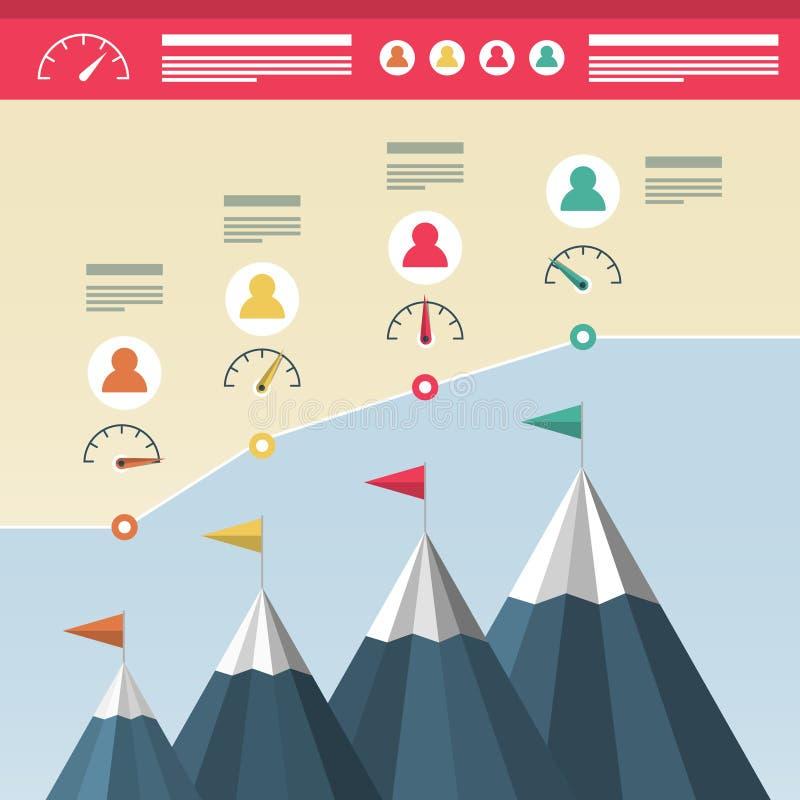 Projeto de Infographic com montanhas Sucesso comercial Infographics Alcançando a parte superior dos montes com bandeiras e ícones ilustração royalty free