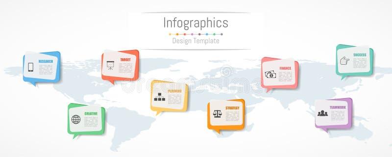 Projeto de Infographic para seus dados comerciais com 8 opções Mapa do mundo desta imagem fornecido pela NASA ilustração stock
