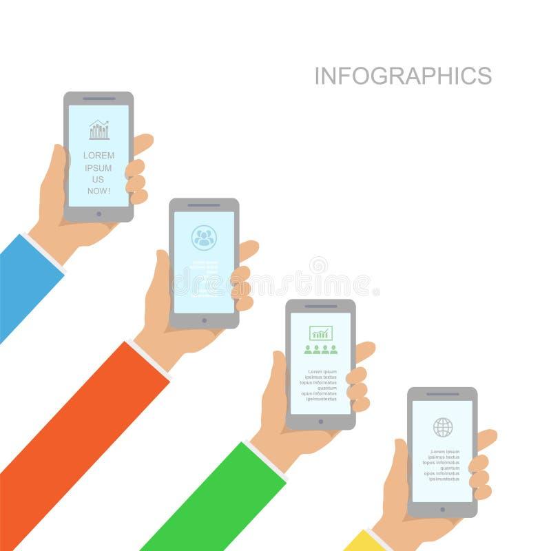 Projeto de Infographics com as mãos humanas que guardam o smartphone ilustração royalty free