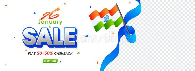 Projeto 26 de janeiro da venda do encabeçamento ou da bandeira com desconto 20-50% fora ilustração royalty free