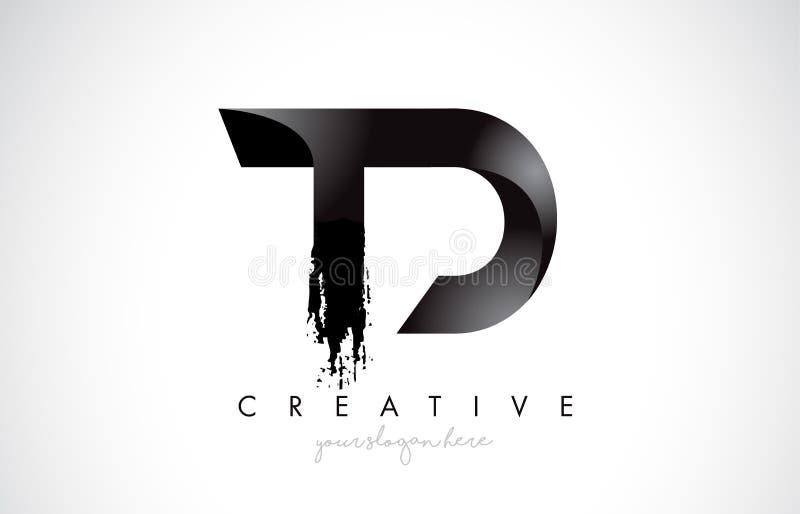 Projeto de letra do TD com curso da escova e olhar 3D moderno ilustração do vetor