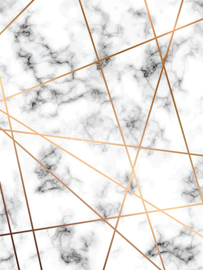 Projeto de mármore com linhas geométricas douradas, superfície marmoreando preto e branco da textura do vetor, fundo luxuoso mode ilustração stock