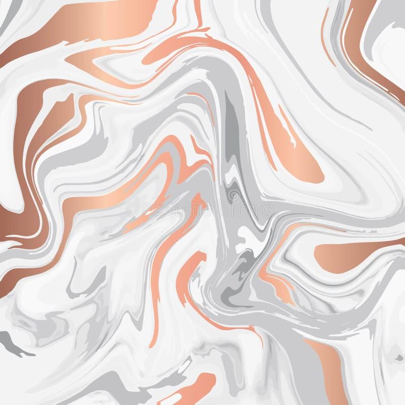 Projeto de mármore líquido da textura, superfície marmoreando colorida, linhas brilhantes de cobre, projeto abstrato vibrante da  ilustração do vetor