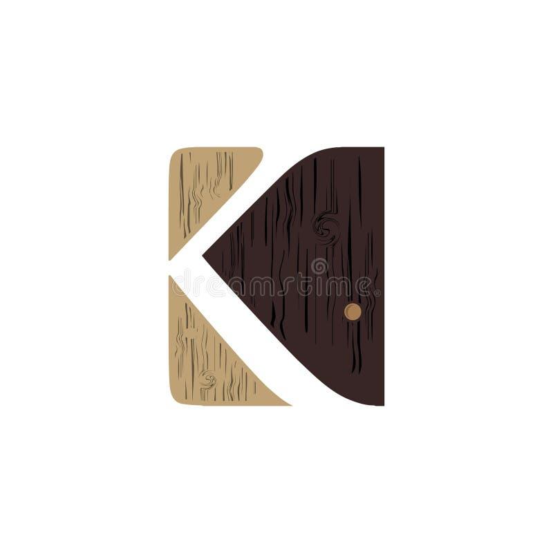 Projeto de madeira criativo da letra K do logotipo para a identidade de marca, o perfil da empresa ou o logotipo incorporado ilustração do vetor