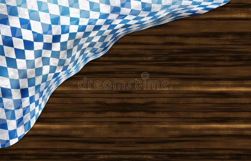 Projeto de madeira da bandeira de Oktoberfest Baviera ilustração do vetor