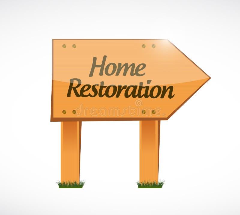 projeto de madeira da ilustração do sinal da restauração home ilustração do vetor