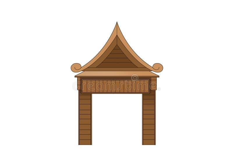 Projeto de madeira da porta de entrada no fundo branco ilustração royalty free