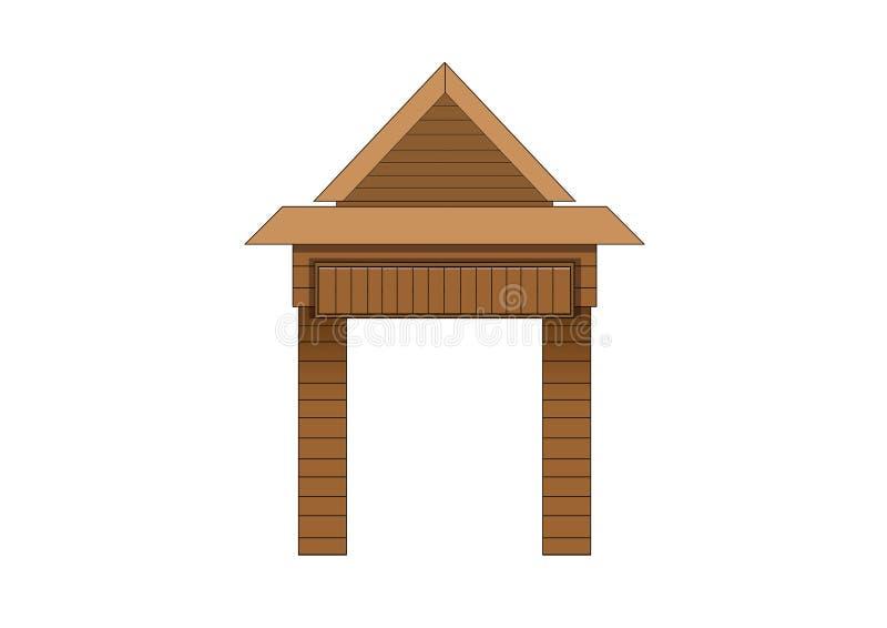 Projeto de madeira da porta de entrada no fundo branco ilustração stock