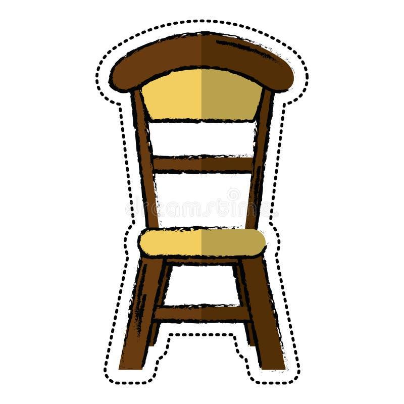 Projeto de madeira do vintage da cadeira dos desenhos animados ilustração royalty free