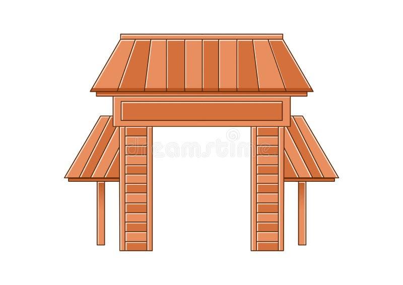 Projeto de madeira e Brown da porta de entrada no fundo branco ilustração stock
