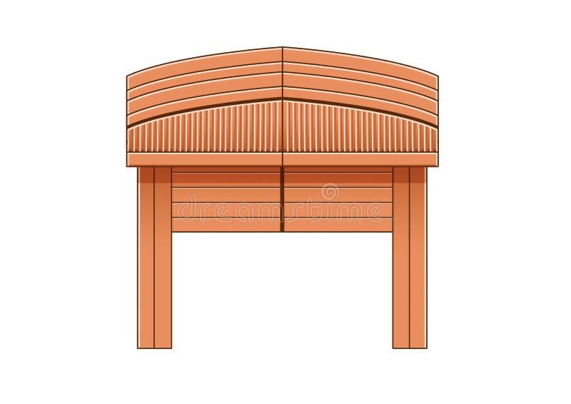 Projeto de madeira Tail?ndia e ?sia da porta de entrada na ilustra??o branca do fundo ilustração do vetor