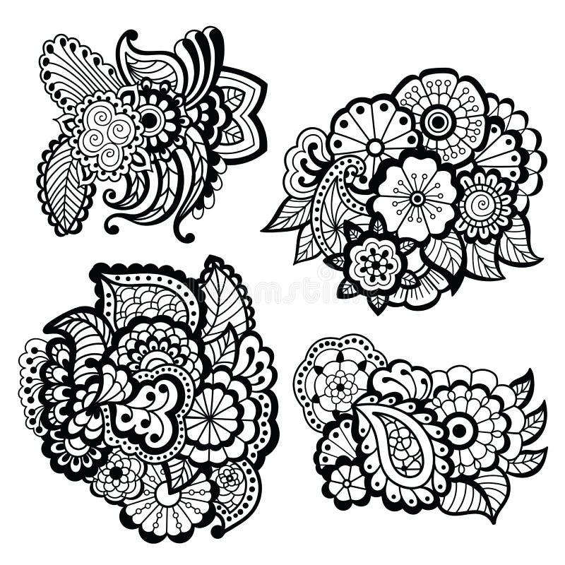 Projeto de Mehndi Teste padrão floral ilustração royalty free