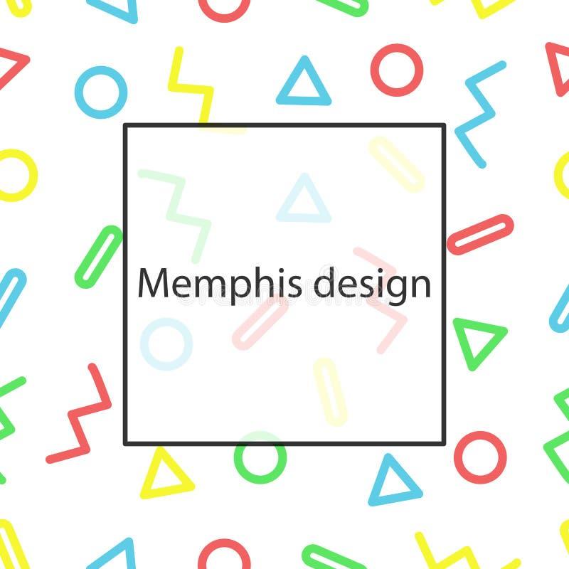 Projeto de Memphis teste padrão sem emenda geométrico Fôrmas coloridas ilustração royalty free