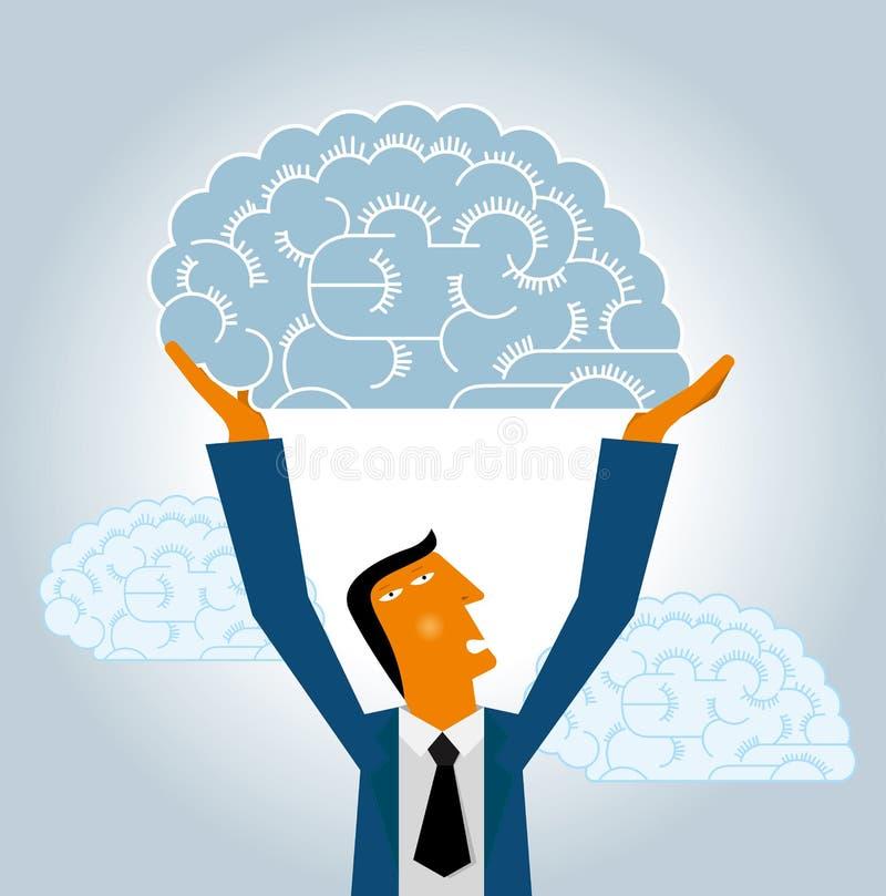 Projeto de mercado, cérebro de levantamento do homem de negócios ilustração stock