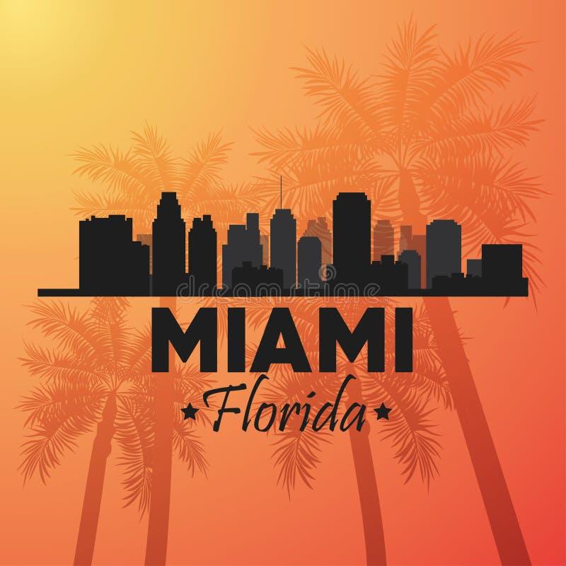 Projeto de Miami florida Ícone da palmeira e da cidade Gráfico de vetor ilustração do vetor