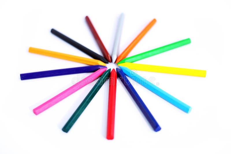 Projeto de muitos lápis coloridos foto de stock royalty free