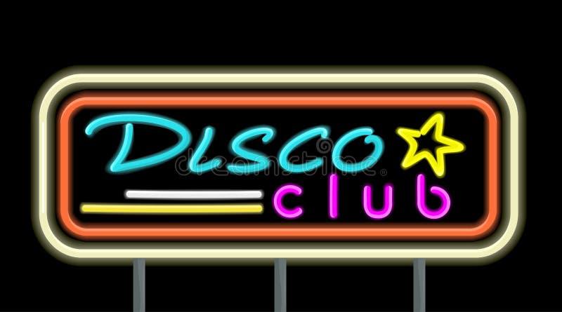 Projeto de néon do clube do disco do quadro indicador ilustração stock