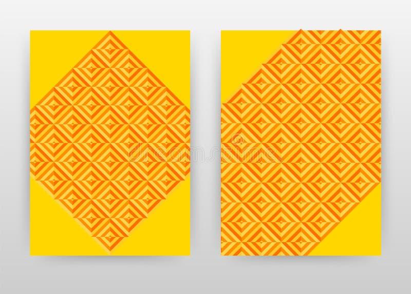 Projeto de negócio alaranjado e amarelo geométrico para o informe anual, folheto, inseto, cartaz Vetor amarelo alaranjado do fund ilustração royalty free