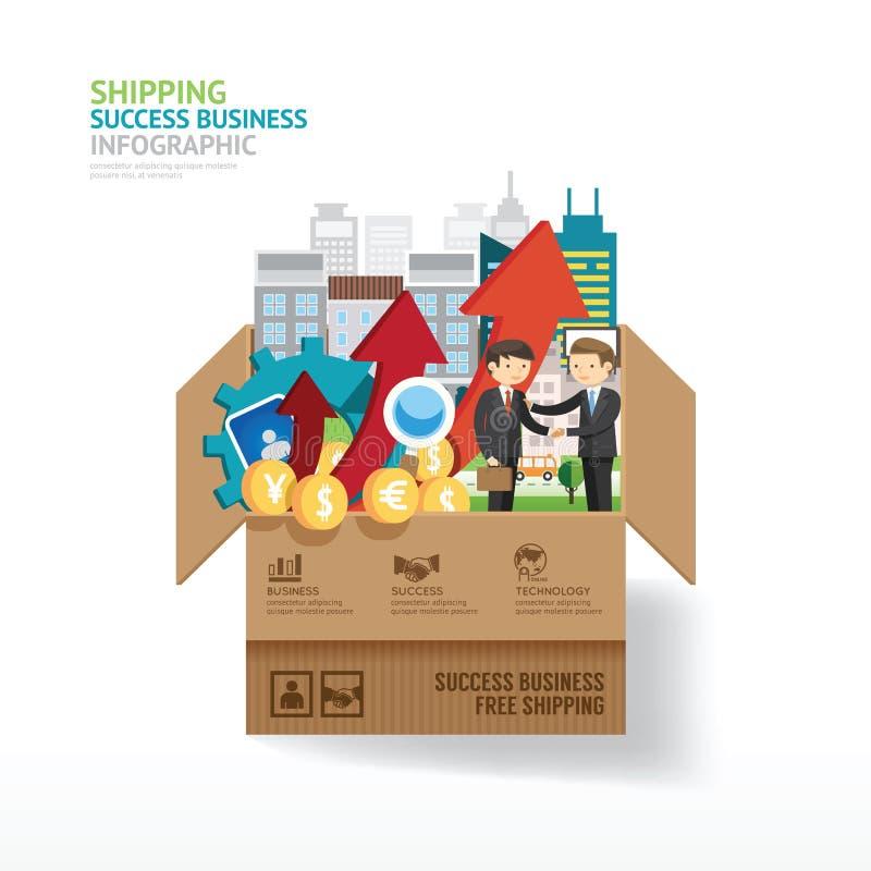 Projeto de negócio de Infographic abra a caixa com elementos da finança ilustração stock