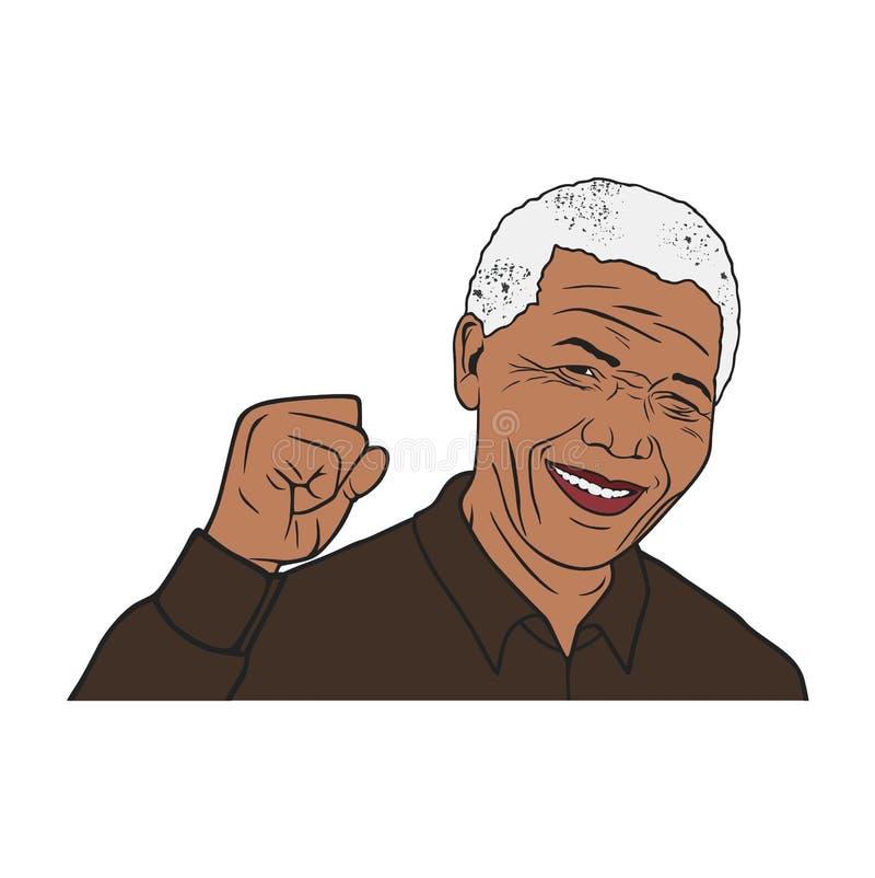 Projeto de Nelson Mandela Portrait Illustration Vetora, desenho, editorial, molde ilustração royalty free