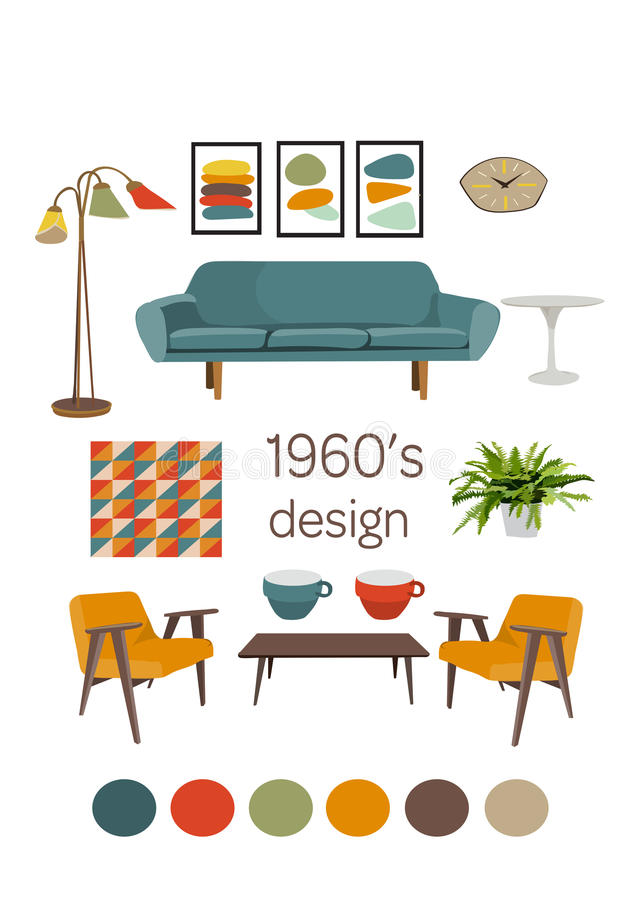 Projeto 1960 de Nterior mobília moderna do século meados de Jogo de elementos do vetor ilustração stock
