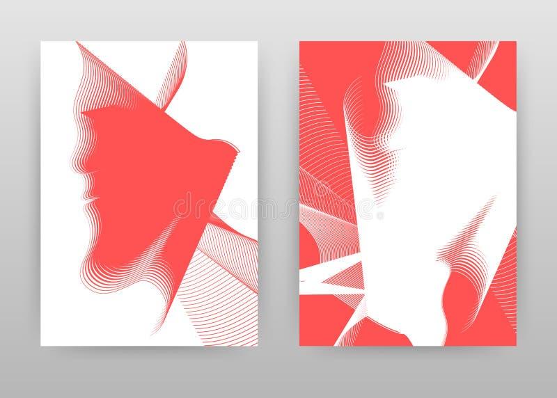 Projeto de ondulação textured vermelho para o informe anual, folheto, inseto, cartaz Ilustração alinhada vermelha do vetor do fun ilustração royalty free