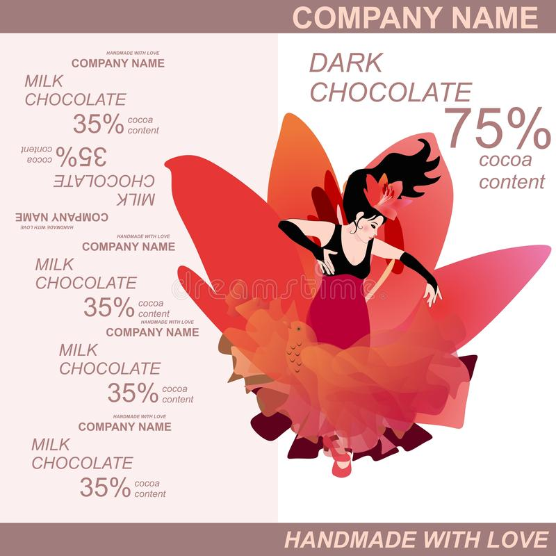 Projeto de pacote da barra de chocolate com flamenco de dança da mulher espanhola contra a flor vermelha enorme do lírio Molde de ilustração royalty free