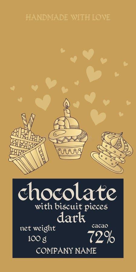 Projeto de pacote da barra de chocolate com queques e corações no fundo dourado Convite ou cart?o Empacotamento editável fácil ilustração do vetor