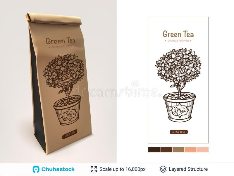 Projeto de pacote do chá ilustração royalty free