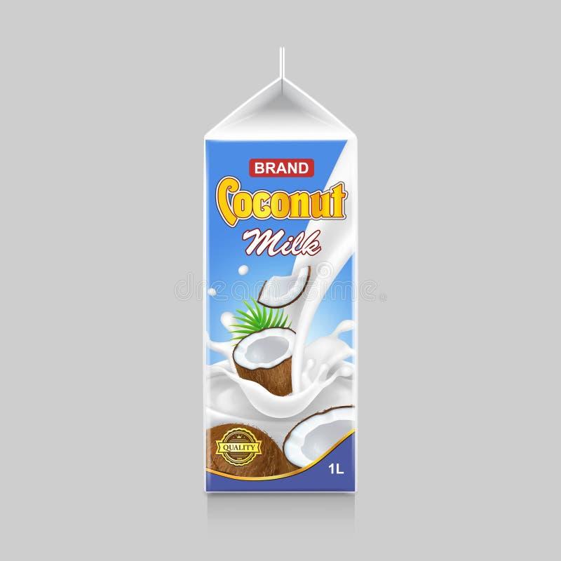 Projeto de pacote do leite de coco Ilustração branca do vetor da bebida do coco da caixa da caixa do pacote ilustração stock