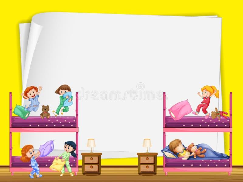Projeto de papel com as crianças no bunkbed ilustração royalty free