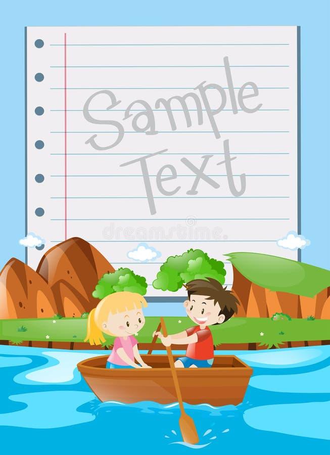 Projeto de papel com fundo do barco de enfileiramento das crianças ilustração royalty free