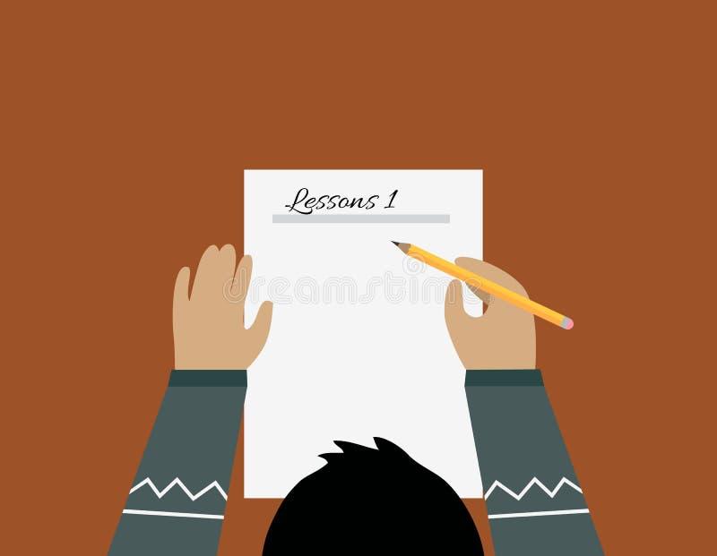 Projeto de papel da folha da educação liso ilustração royalty free