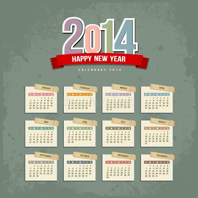 Projeto de papel de 2014 calendários ilustração stock