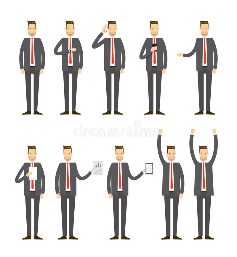 Projeto de personagem de banda desenhada ajustado do negócio do vetor liso ilustração royalty free