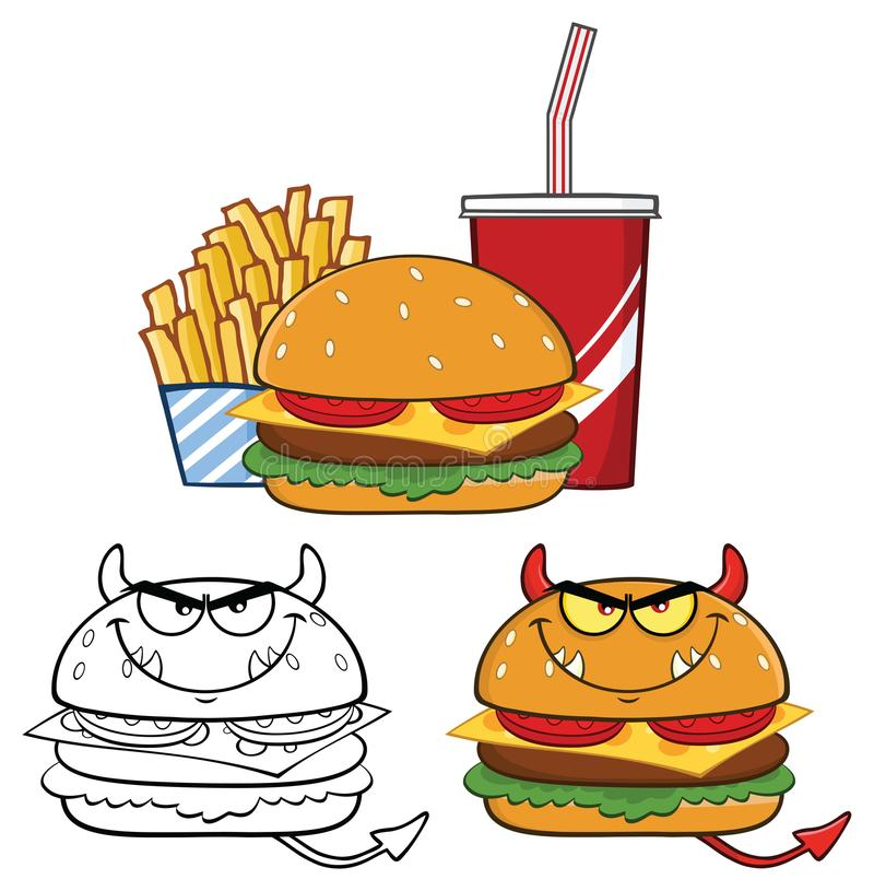 Projeto de personagem de banda desenhada do hamburguer do diabo Jogo da coleção ilustração royalty free