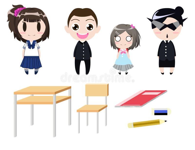 Projeto de personagem de banda desenhada uniforme do estudante com estacionário ilustração do vetor