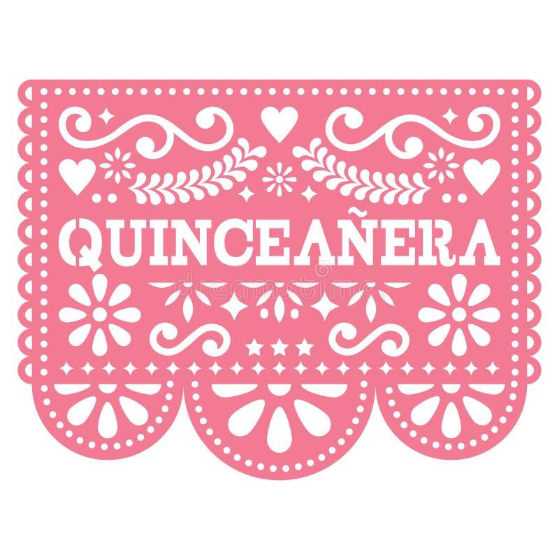 Projeto de Quinceanera Papel Picado - projeto mexicano da festa de anos da arte popular, decoração de papel com teste padrão flor ilustração do vetor