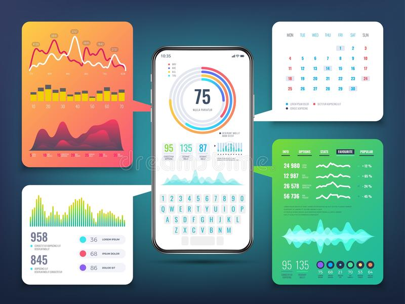 Projeto de relação da aplicação do telefone celular com cartas e gráficos do infographics do negócio Vetor eps10 do ui do telefon ilustração stock