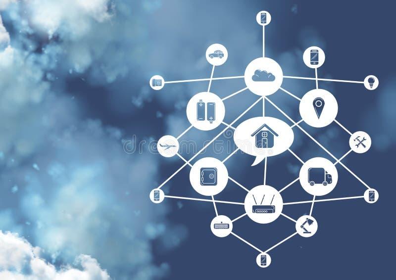 Projeto de relação de ícones da conectividade no conceito de computação da nuvem fotografia de stock royalty free
