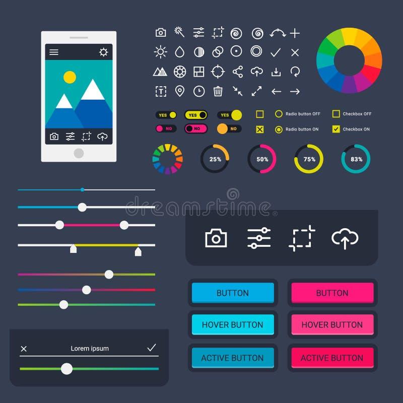 Projeto de relação móvel da Web de ui-UX do progresso da transferência dos indicadores do app do dispositivo da aba do portátil d ilustração royalty free