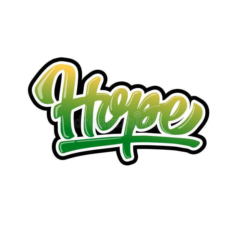 Projeto de rotulação da mão da esperança ilustração royalty free