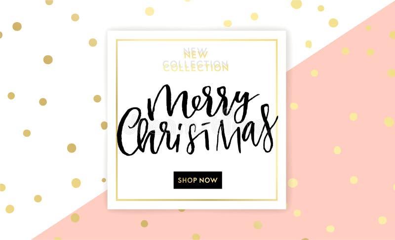 Projeto de rotulação do Feliz Natal com os flocos de neve de brilho de brilho do ouro ilustração royalty free