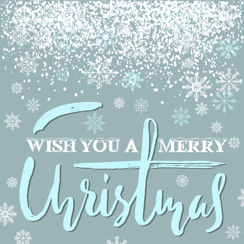 Projeto de rotulação do grunge do Feliz Natal no fundo azul com neve branca Cartão de rotulação do feriado ilustração do vetor