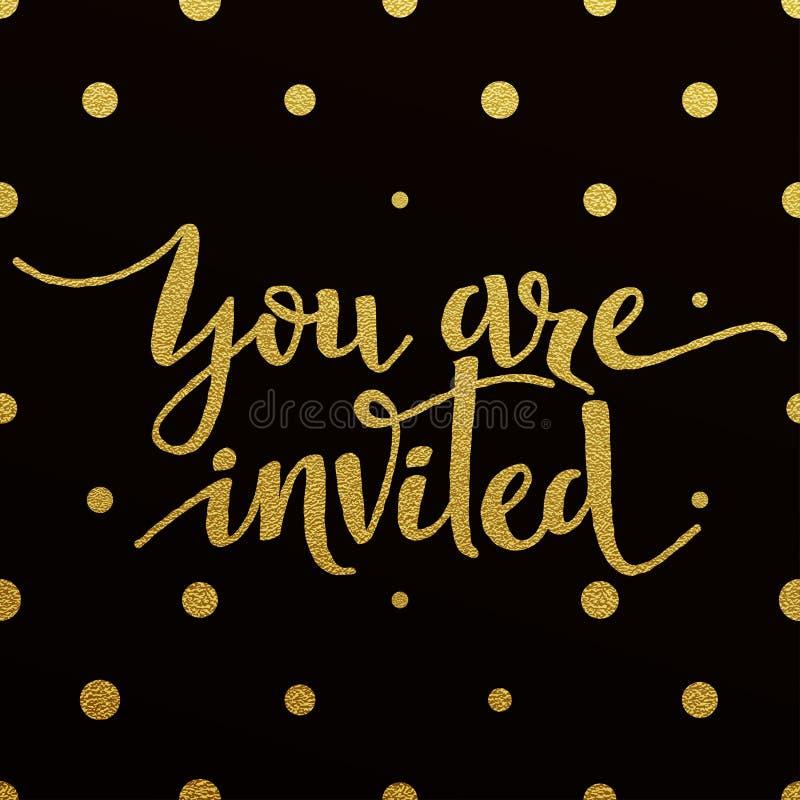 Projeto de rotulação do ouro para o cartão você é convidado ilustração royalty free