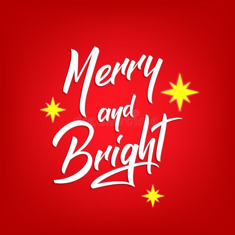 Projeto de rotulação do texto do Natal Cartão com citações alegres e brilhantes da caligrafia e estrelas do Natal ilustração royalty free