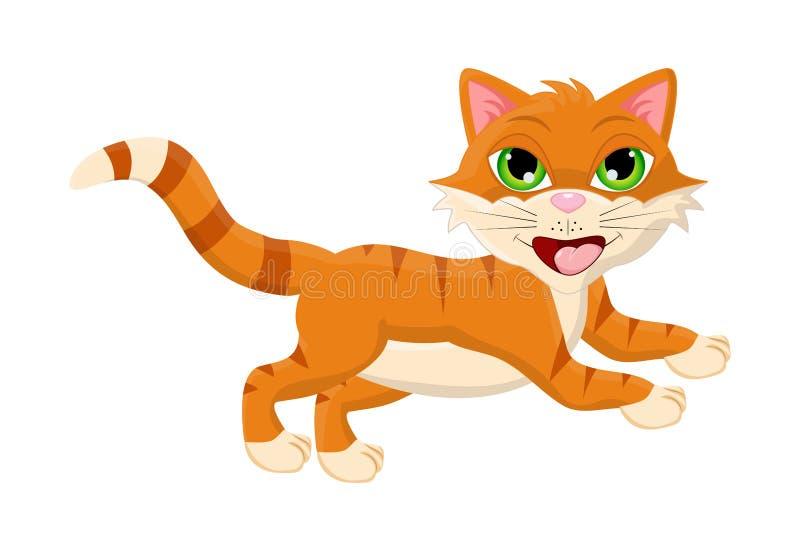 Projeto de salto do ícone do símbolo do vetor do gato dos desenhos animados ilustração stock